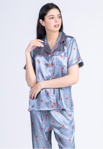FEMINISM grey Silk Shortsleeve Pajama C617FAA4EA59D5GS_1