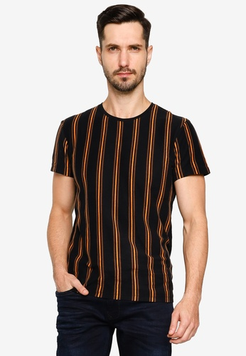 BLEND black Vertical Stripe Crew Neck T-Shirt 26CFCAA0A6C47EGS_1