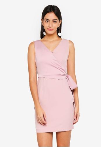 ZALORA pink Satin Self Tie Dress 4EFF7AAC1DD096GS 1 ce6e4cc8f