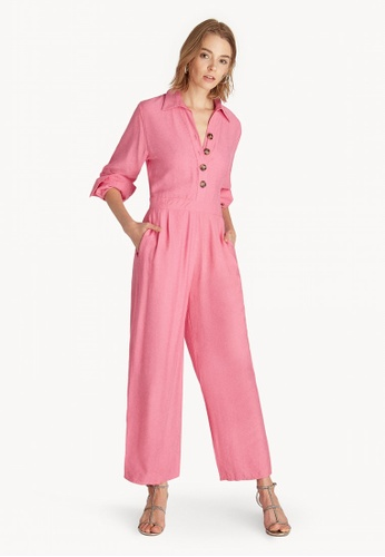 f9837fa4b06f Buy Pomelo Long Sleeves Button Up Jumpsuit - Pink Online on ZALORA ...