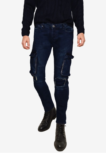 Brave Soul blue Long Length Ripped Detail Biker Jeans 1E5B2AA75DDB10GS_1