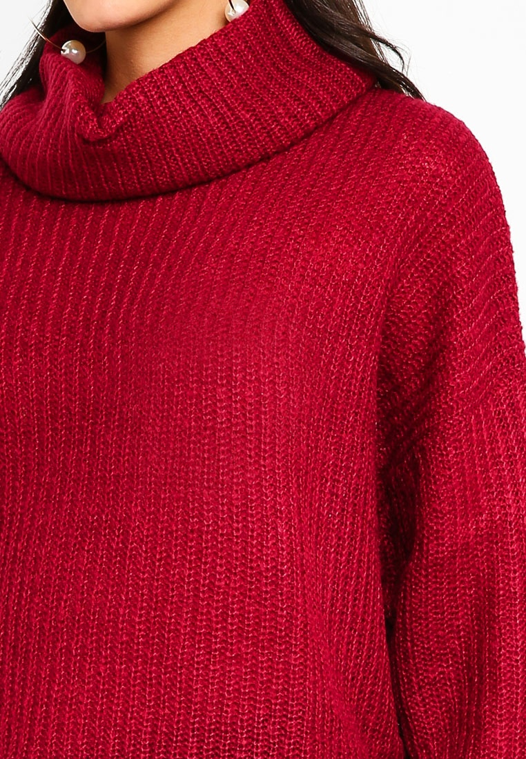 Daisy YONG High JACQUELINE Pullover Neck DE Red Plum EAqPS4