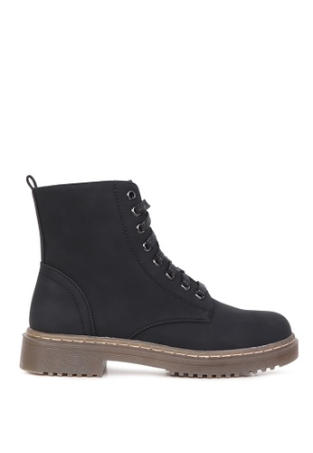 London Rag black Lace Up Ankle Boots With Side Zipper 7D5DASH6E4BFFDGS_1