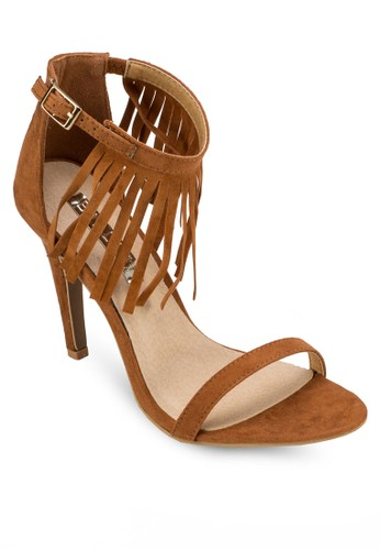 Ombre 一字流蘇esprit outlet 台中繞踝高跟涼鞋, 女鞋, 鞋