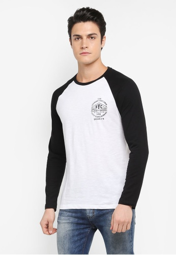 Burton Menswear London white Black And White Long Sleeve Chest Print Raglan T-Shirt 47C6FAAC35A95DGS_1