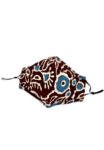 La Floret brown 1 pc Masker Kain 100% Cotton 2 ply PM 2.5 Filter pocket Mask (nose clip design with adjustable Earloop) 1DBC7ES050405AGS_1