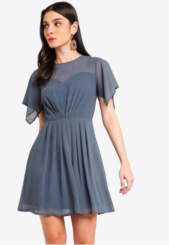 ZALORA 藍色 Handkerchief 袖洋裝 3C448AA0DDC14FGS_1
