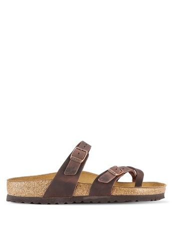 Birkenstock brown Mayari Oiled Leather Sandals BI090SH0RTIFMY_1
