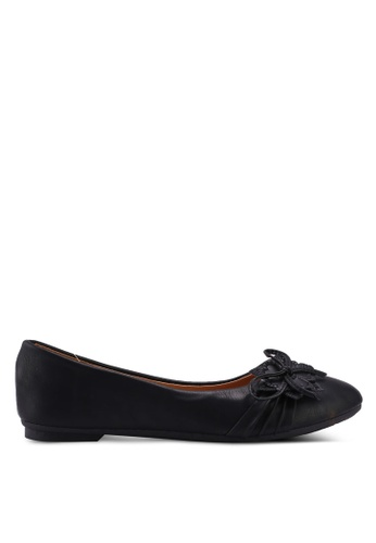 Noveni black Round Toe Flats With Bow 5E39ASH05383B6GS_1