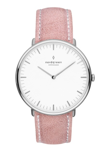 Nordgreen pink and silver Nordgreen Native Silver 36 mm - Pink Leather Watch 68124ACEADDE23GS_1