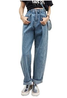 02e86141db7 Sunnydaysweety blue New High Rise Roll-Leg Boyfriend Jeans CA032515BL  39CDEAA1A5C521GS_1
