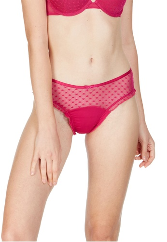 6IXTY8IGHT red Ivo Solid, Heart Jacquard Mesh Hipster Panty PT10001 C8FC0USF603939GS_1