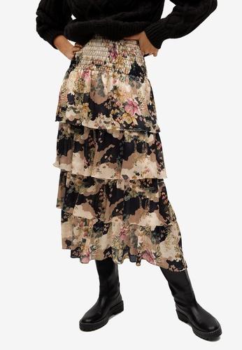 Mango black Printed Tiered Skirt 80D9CAA1492152GS_1