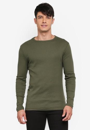 River Island green Rib Long Sleeve T-Shirt E2C62AA765E5EDGS_1