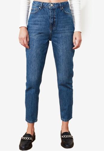 Trendyol blue Denim Wash High Waist Mom Jeans ECF6BAAE5CE8A7GS_1