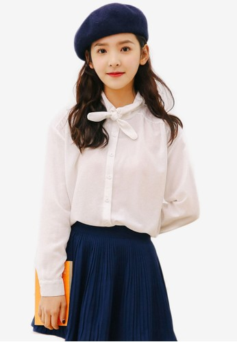 Shopsfashion white Long Sleeve Collared Shirt 1331BAA96091ECGS_1