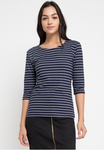 EDITION navy Stripy Mid Sleeve Top D77E5AAF8F4EB9GS_1