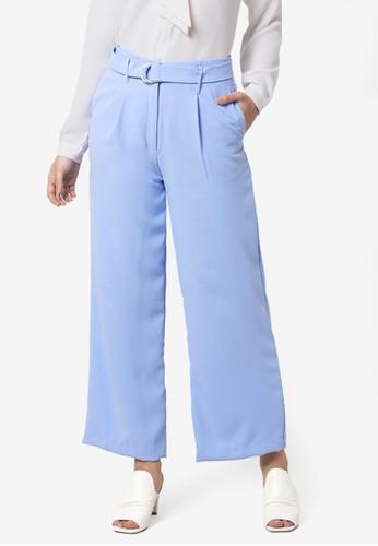 FabAlley blue Wide Legged Belted Pants 774F1AA7C79D82GS_1