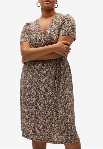 Violeta by MANGO black Plus Size Print Wrap Dress 3412FAADBE0026GS_1