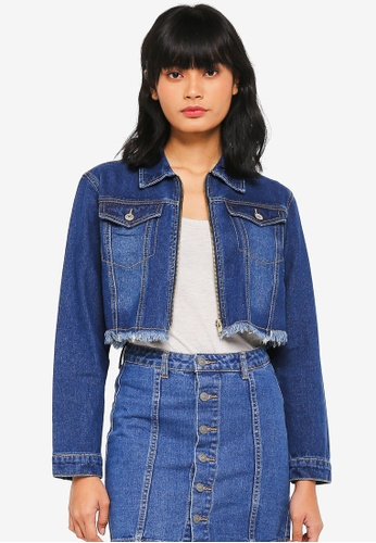 Something Borrowed blue Cropped Frayed Denim Jacket 1EEB8AA2FFEC37GS_1