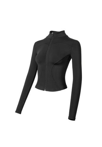VIVIESTA SPORT black Flattering Everyday Turtleneck Sports Jacket A5DB4AAC16437AGS_1
