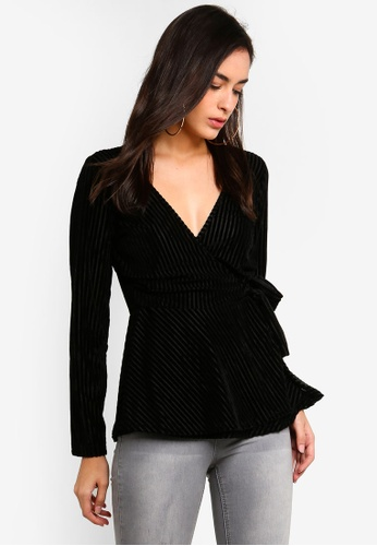 a2f5351ea3149 Buy MISSGUIDED Striped Velour Front Wrap Top Online on ZALORA Singapore
