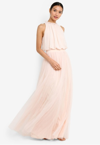 e40fc440675 Shop Little Mistress Samantha Nude Frill Maxi Dress Online on ZALORA ...