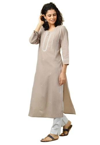 Fabindia Cotton Chikankari Long Kurta 7B2CDAA83F8856GS_1