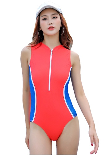 YG Fitness red and blue Sexy Contrast Color One-Piece Swimsuit 41327USC7539DDGS_1