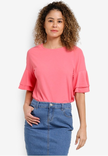 Dorothy Perkins pink Coral Crepe Double Ruffle Top DO816AA32XIPMY_1