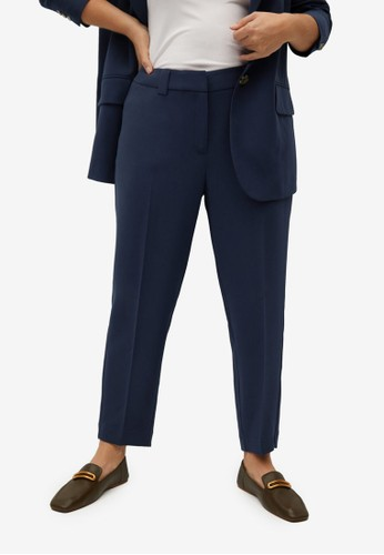 Violeta by MANGO blue Plus Size Slim-Fit Cropped Trousers 6CD70AA360C5ABGS_1