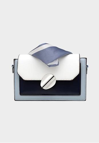 Lara blue Women's Stylish Oval-shaped Buckle Chain Cross-body Bag (Silk Scarf included) - Blue CF450AC5976602GS_1