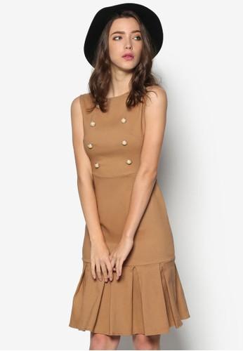 雙排扣esprit童裝門市褶飾洋裝, 韓系時尚, 梳妝
