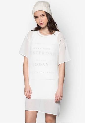 文字訊息雙層連身裙, 服飾,zalora時尚購物網評價 洋裝