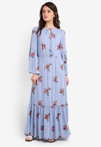 Zalia blue Flare Sleeve Peasant Dress B8FE5AAFCD8E4BGS_1