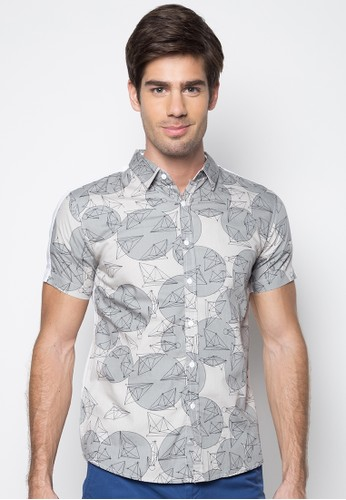 Geo Print On Front Panel Cut And Sew Shirt