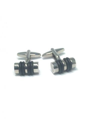 Splice Cufflinks silver Black and Silver Cylinder Cufflinks   SP744AC63DTGSG_1