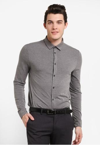 Burton Menswear London 灰色 Charcoal Button Through Stretch Jersey Shirt BU964AA0RJENMY_1