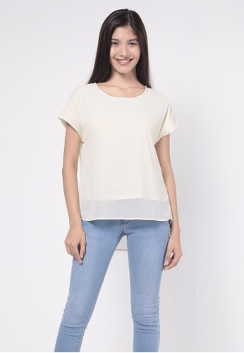 nicole white Round Neckline Back With Box Pleat And Embroidery Detail Blouse 7F87CAA679F103GS_1