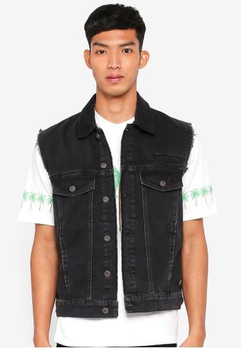 Topman black Washed Black Sleeveless Denim Jacket 52E65AA1E98C9FGS_1