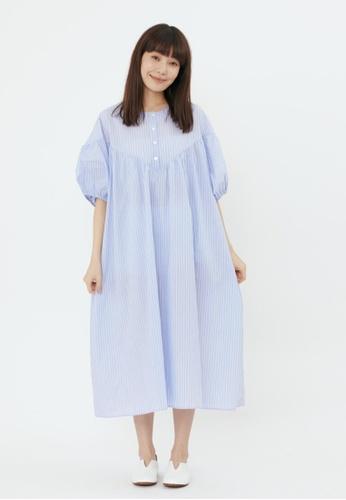 so that's me blue Bernice Henley V Cut Balloon Sleeves Long Dress Blue Stripe 8E927AA85297E5GS_1