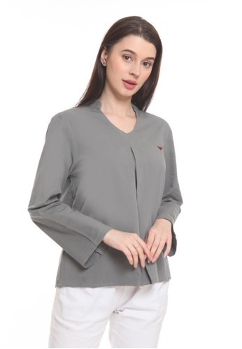 2nd Red grey Blouse Oval Neck L/S Dark Grey ON2011 5F807AA26AD960GS_1