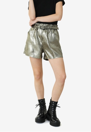 PIMKIE gold High Waist Metallic Finished Shorts 36A9AAA1FF0C46GS_1