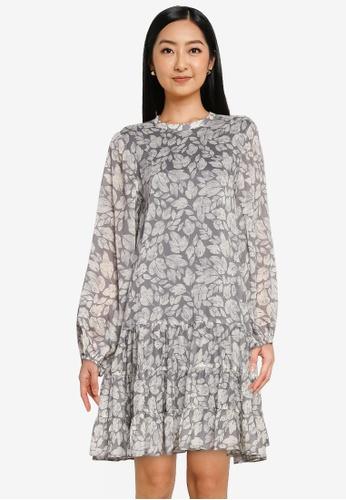 The Duo grey Printed Tiered Dress B804BAA58741EBGS_1