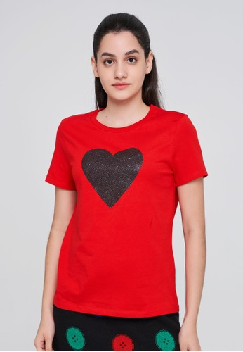 United Colors of Benetton red Printed T-shirt C0C39AACB909A4GS_1