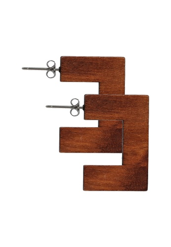 niko and ... brown Wood Earrings 460D5AC6530D52GS_1
