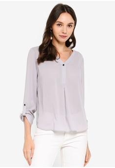 16427a194ec Dorothy Perkins grey Grey Button Roll Sleeve Shirt FA02DAA25F7B0BGS_1