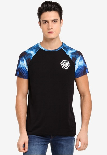 Burton Menswear London blue Blue Marble Print Raglan T-Shirt CA358AA96596D7GS_1