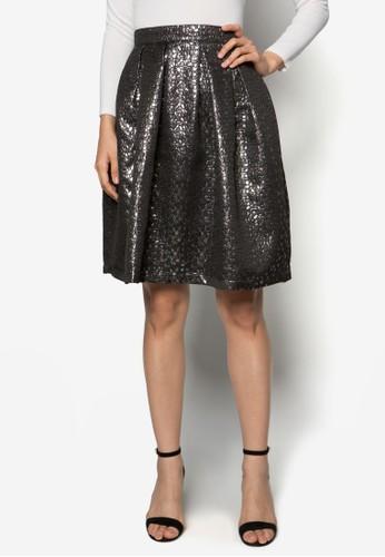 金屬感提花及膝裙, zalora 評價服飾, 裙子