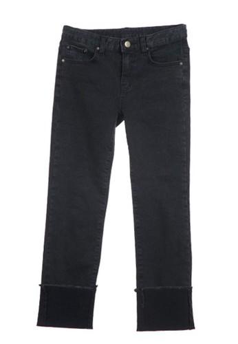 黑色捲邊長zalora是哪裡的牌子褲, 服飾, 直腳褲